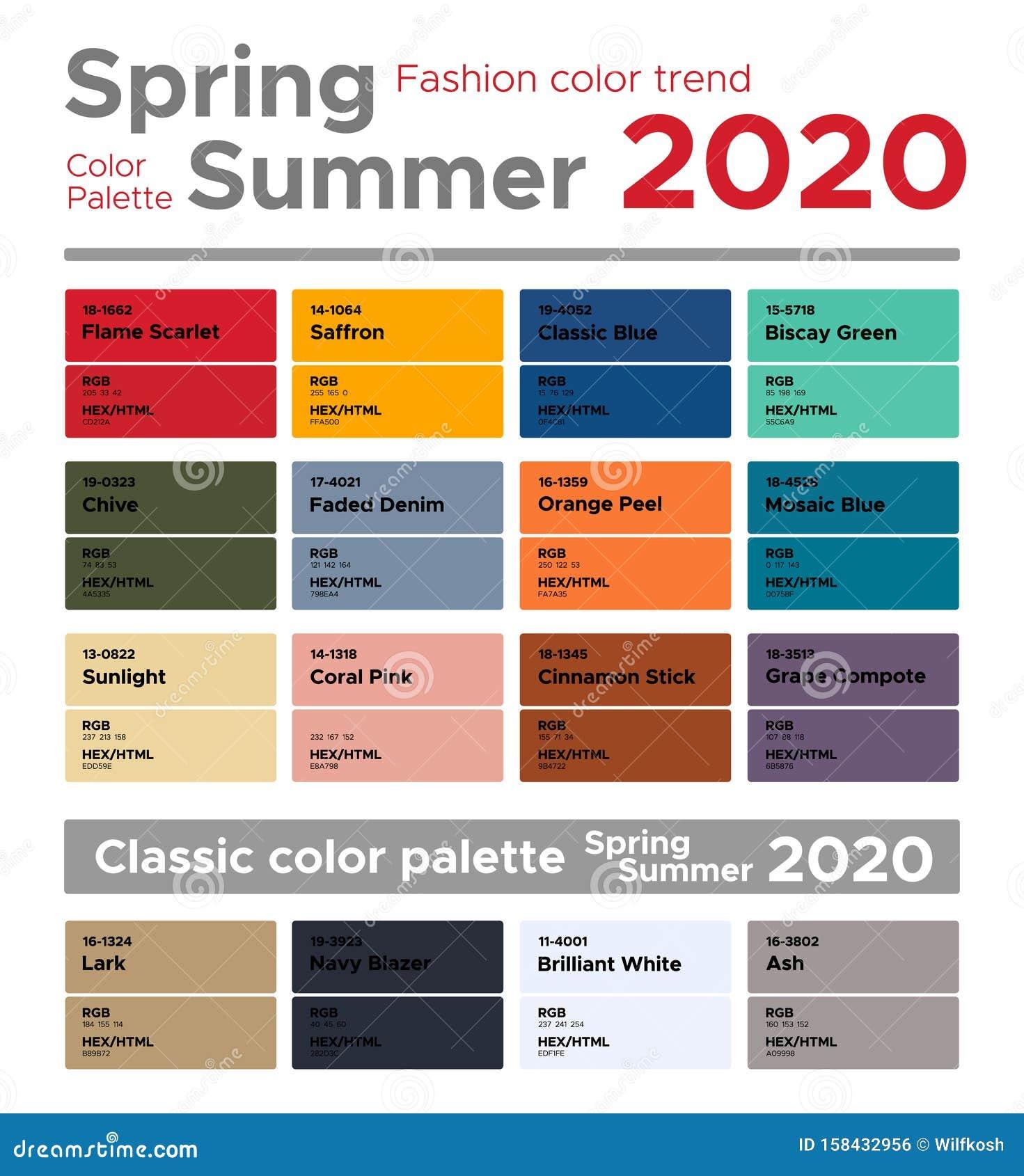 2020 Color Trends Fashion.Spring Summer 2020 Fashion Color Trends Color Palette Stock