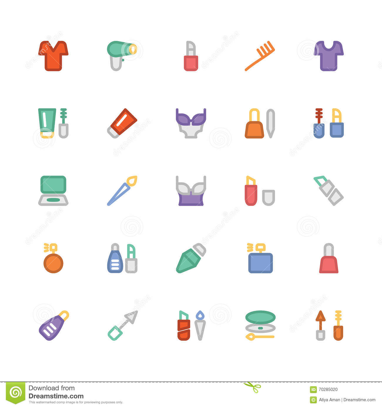 Fashion Colored Vector Icons 8 Stock Illustration Illustration Of Equipment Blowdryer 70285020