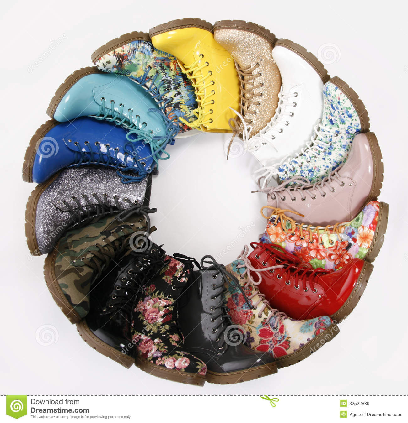 Fashion Combat Boots Collection On White Background. Colorful Lace ...