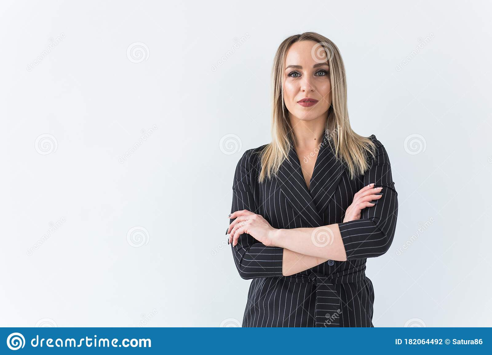 Fashion Concept Portrait Of Business Woman In A Suit On White Background With Copy Space Stock Photo Image Of Happy Adult 182064492