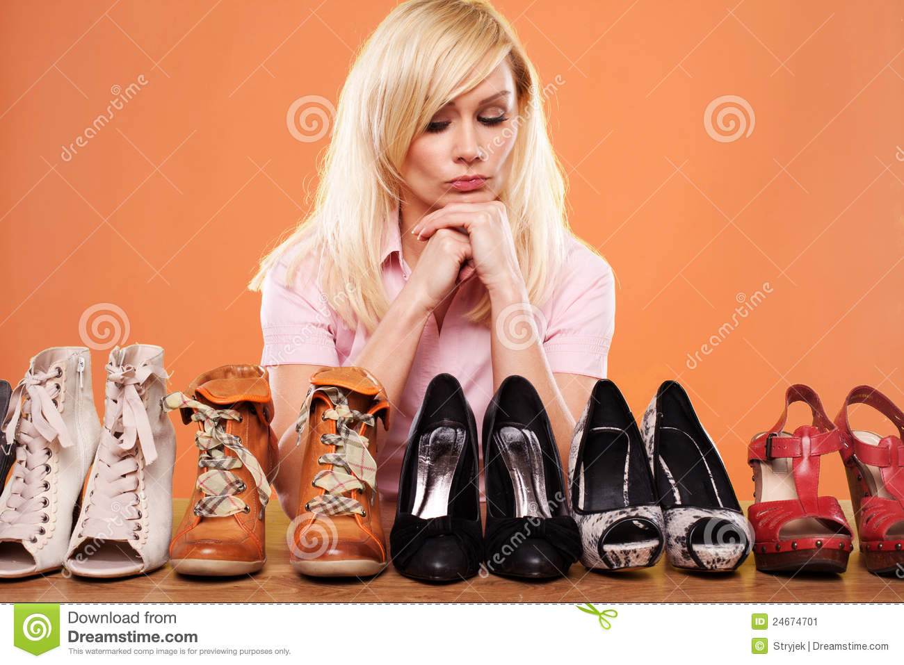 Fashion conscious woman with shoes