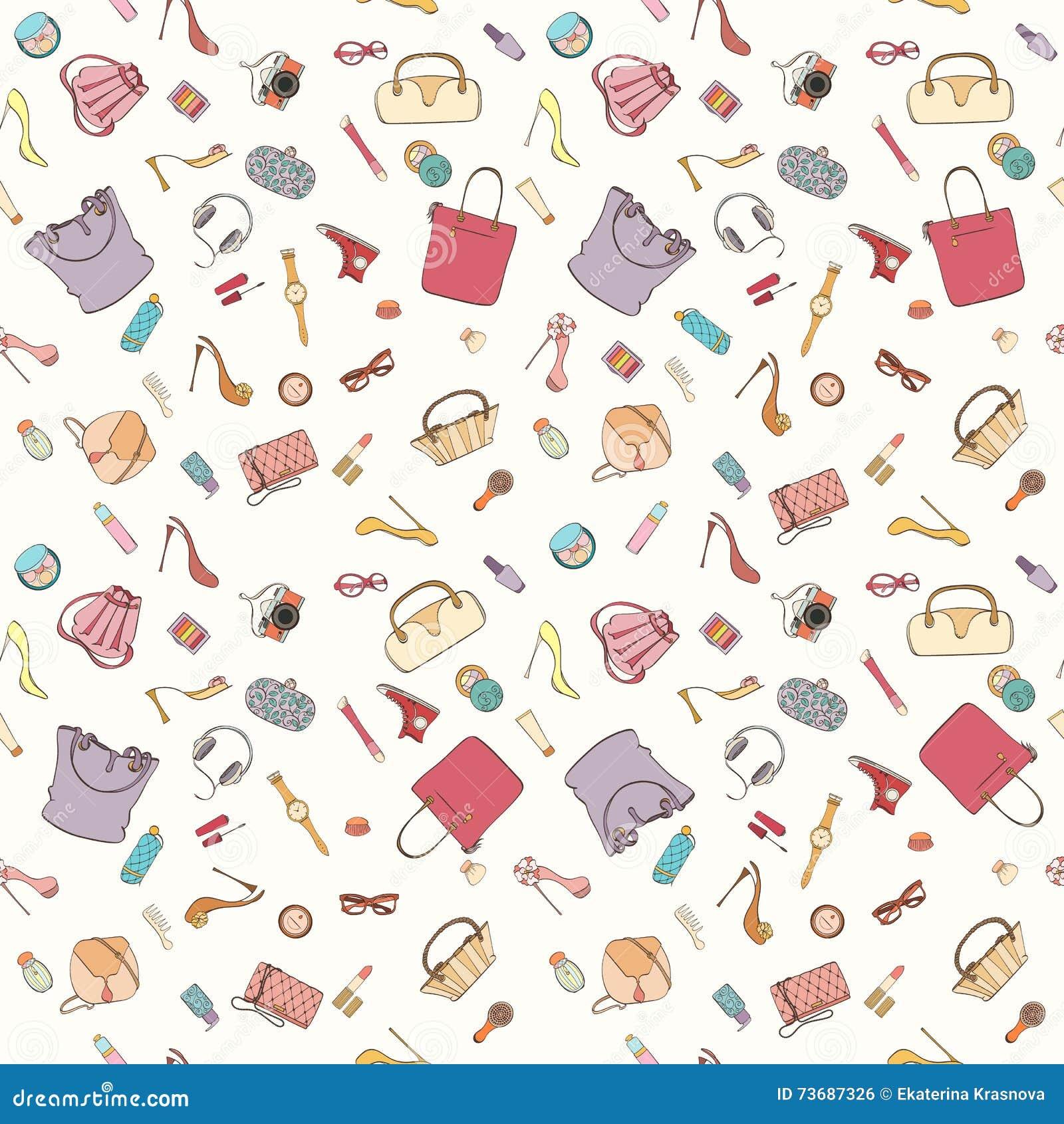 Fashion Cosmetic Pattern Cartoon Vector Cartoondealer