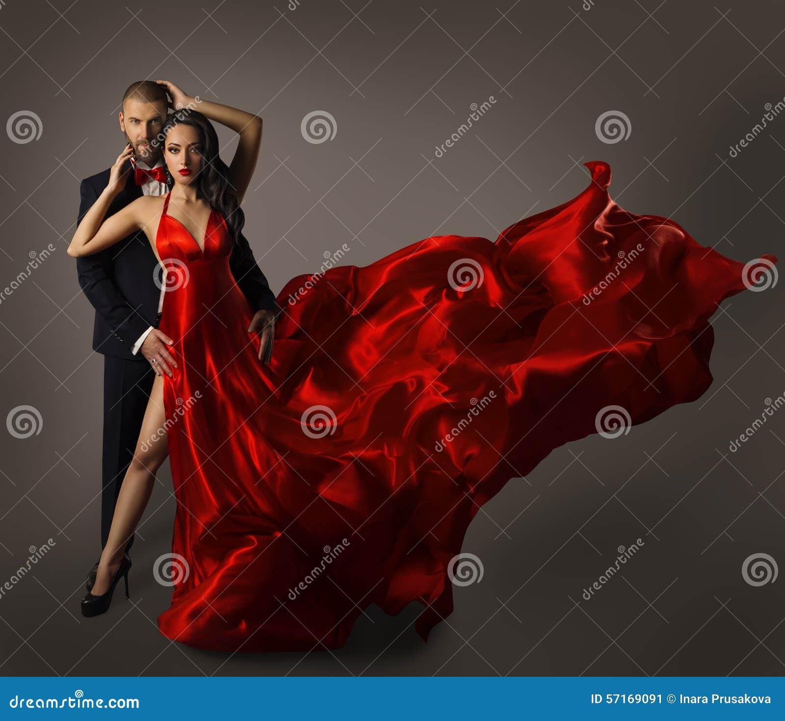 Fashion Couple Portrait, Woman Red Dress, Man in Suit, Long Cloth