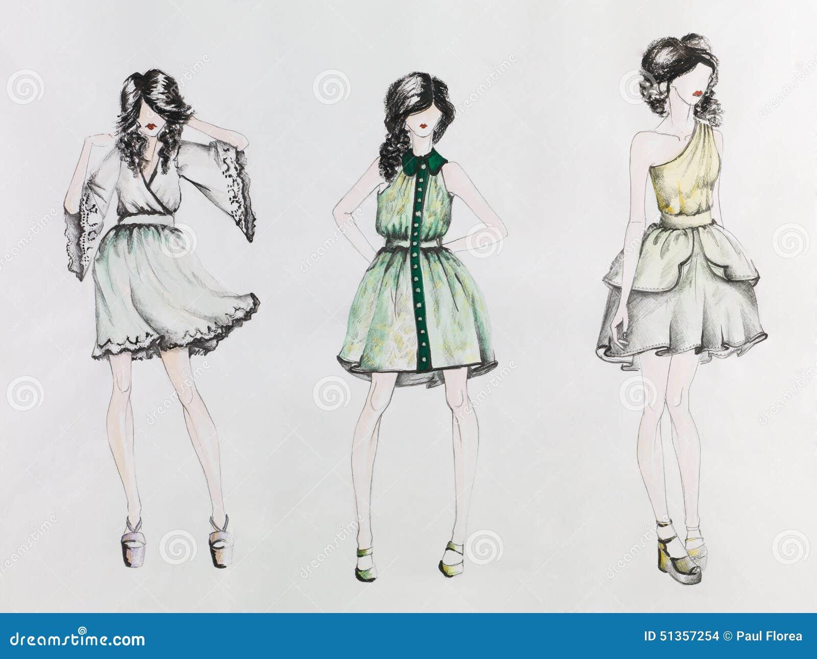 Fashion week Design Fashion sketches of short dresses for girls