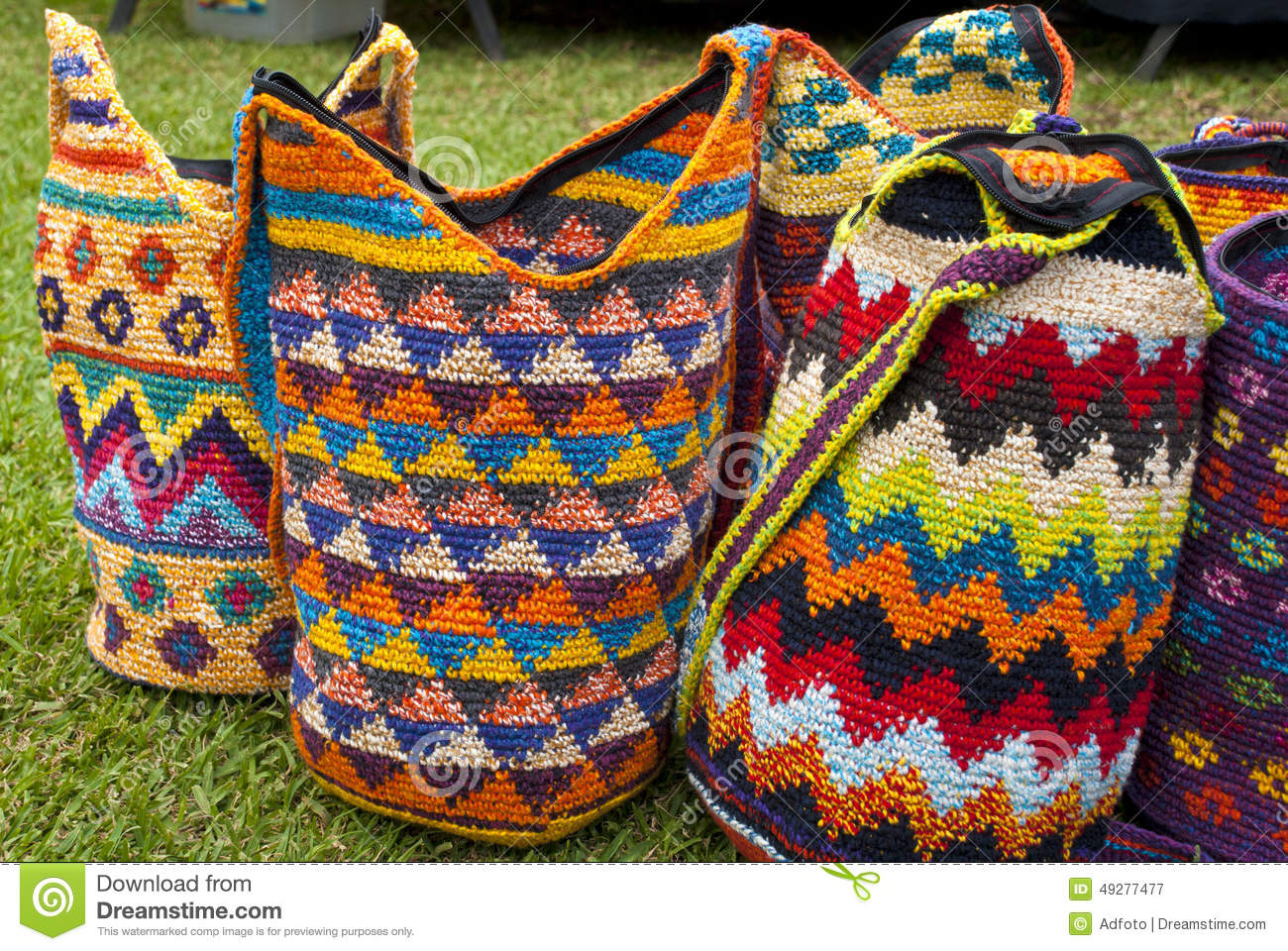 Crochet Pattern For Bucket Bag : Fashion - Crochet Handbags Stock Photo - Image: 49277477