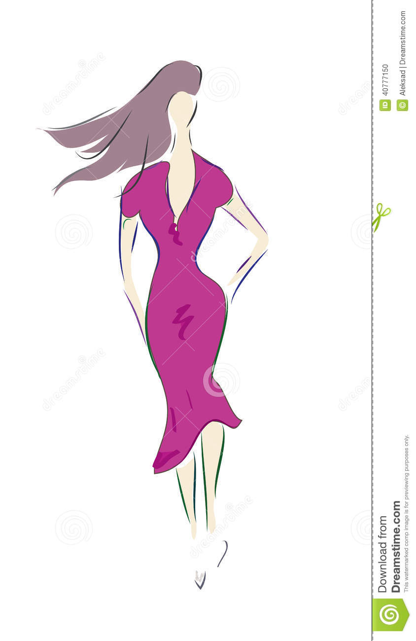 Fashion Design Sketch Of A Model With Dress Stock Vector Illustration Of Lifestyle Collection 40777150