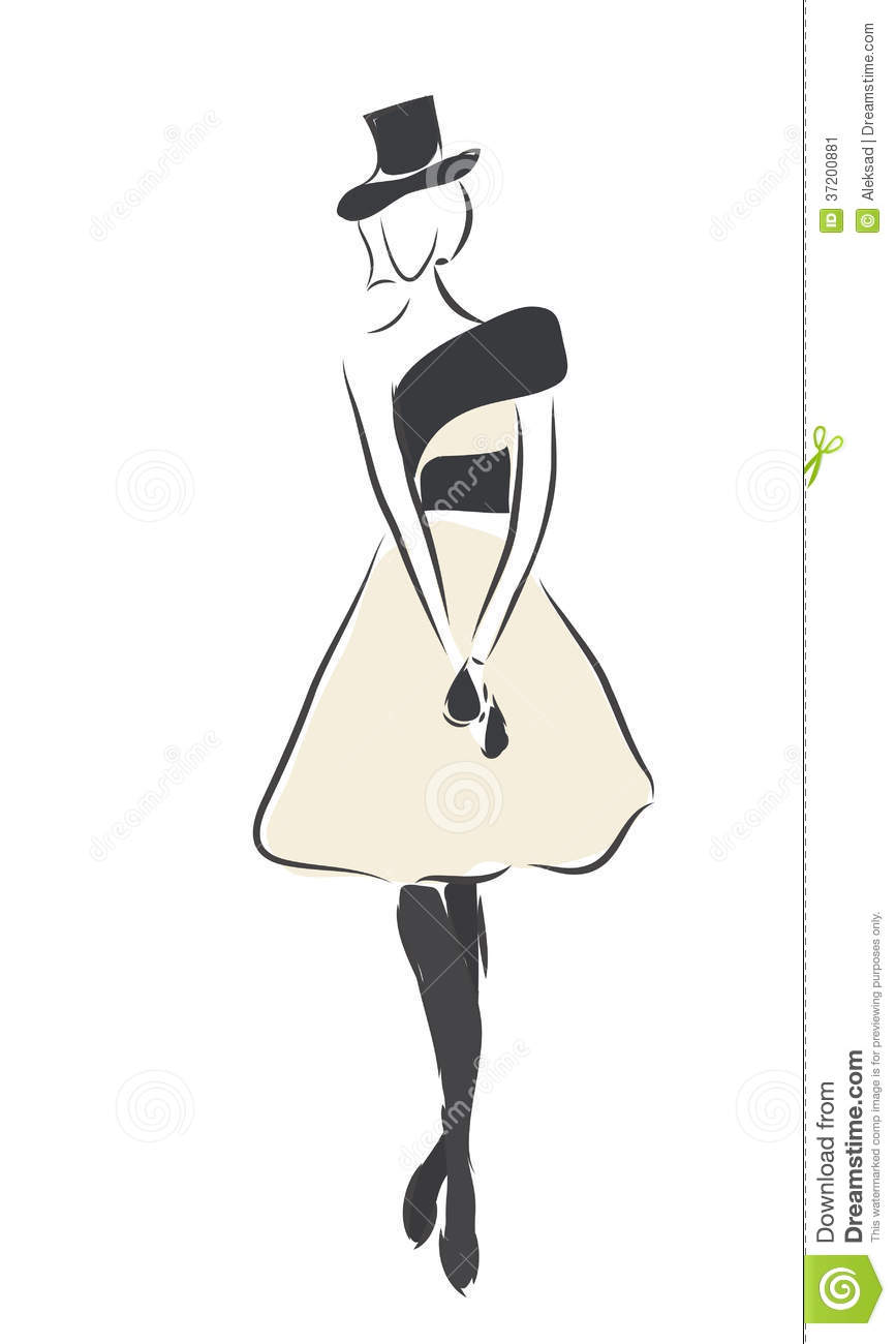 Fashion Design Sketch Of A Woman With A Dress Stock Vector Illustration Of Isolated Graphic 37200881