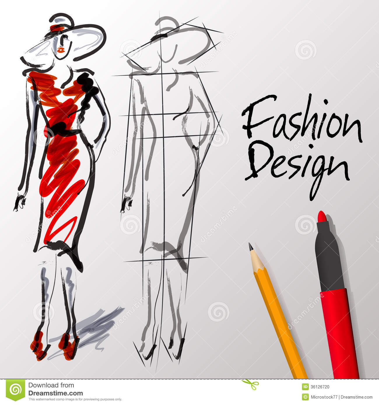 Illustration Of A Fashion Designer