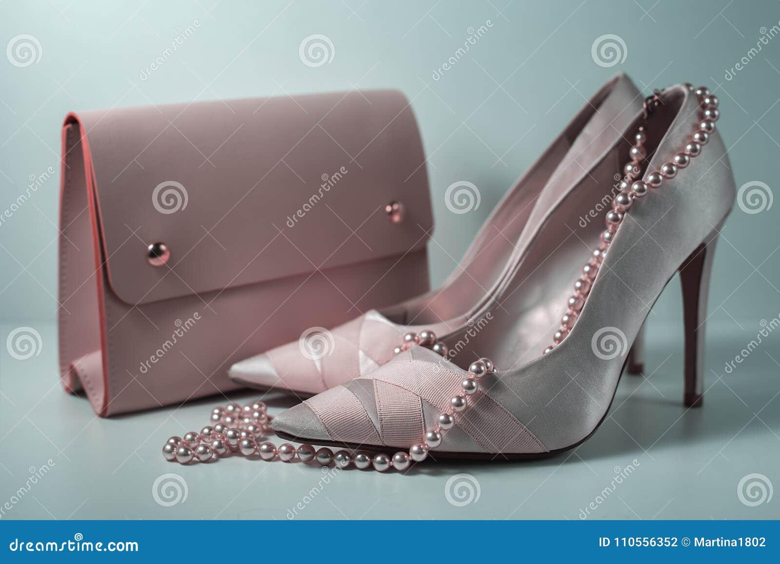 df349d56db9c Fashion Design Woman Accessories Set. Pastel Colors.Trendy fashion Handbag  Clutch clothes. Glamor fashion shoes Heels.