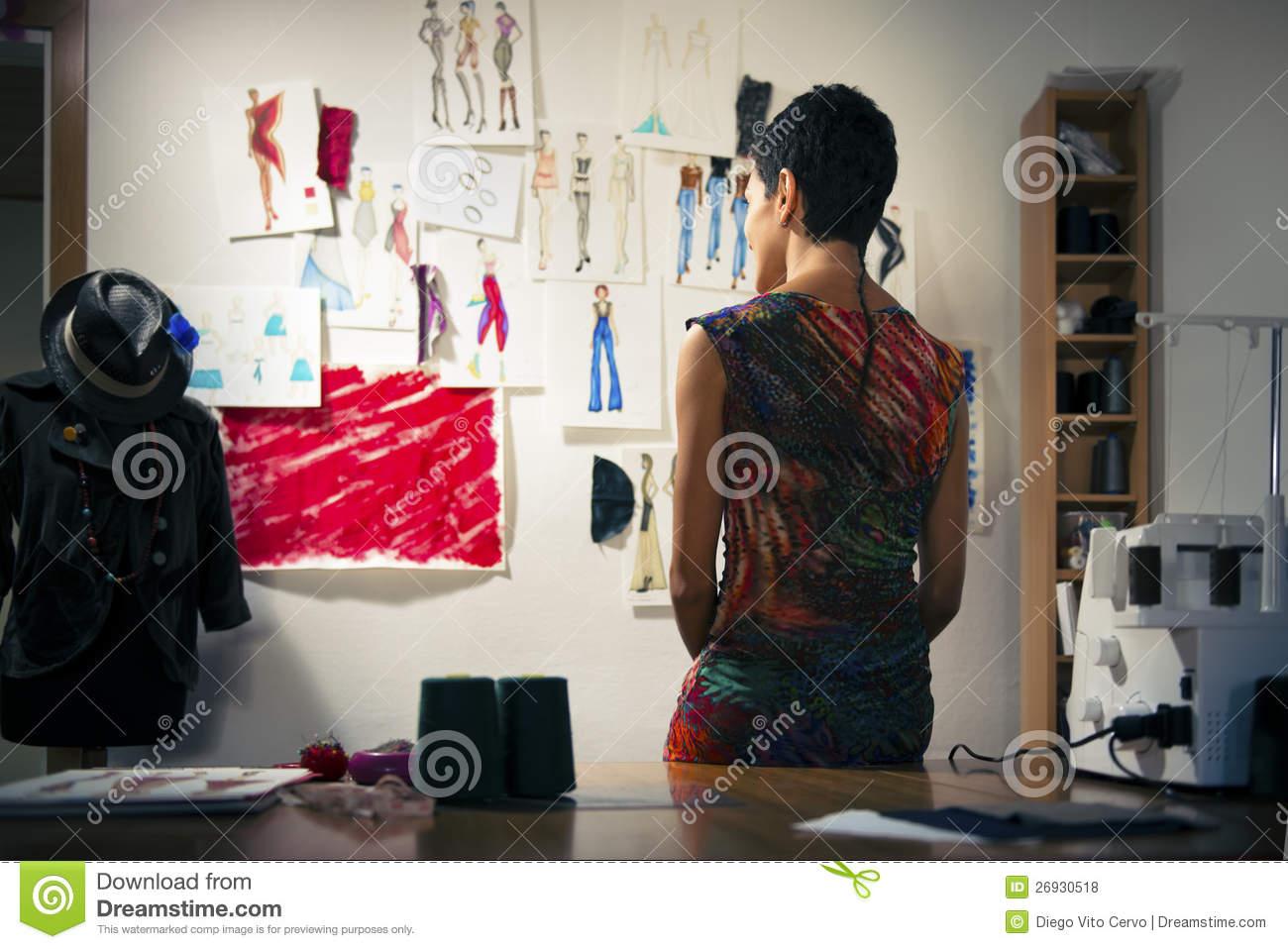 Fashion Designer Contemplating Drawings In Studio Royalty Free Stock Photos Image 26930518