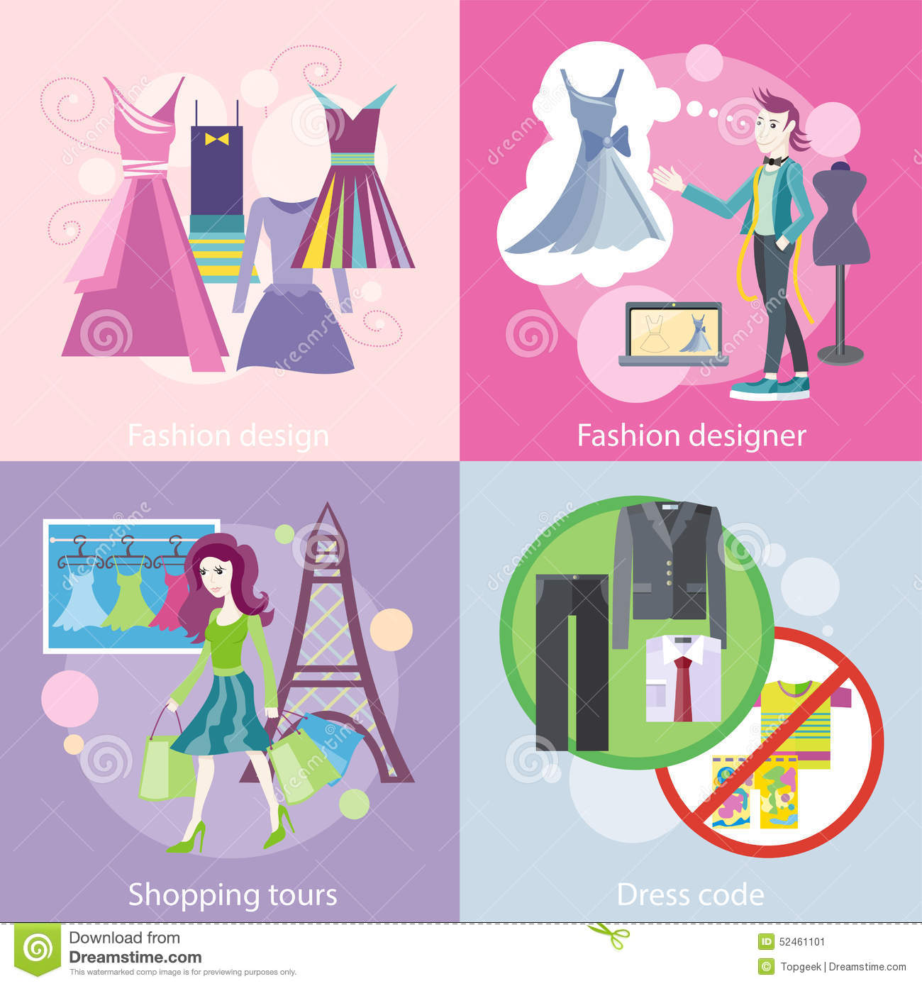 Fashion Designer Design Shopping Tour Dress Code Stock
