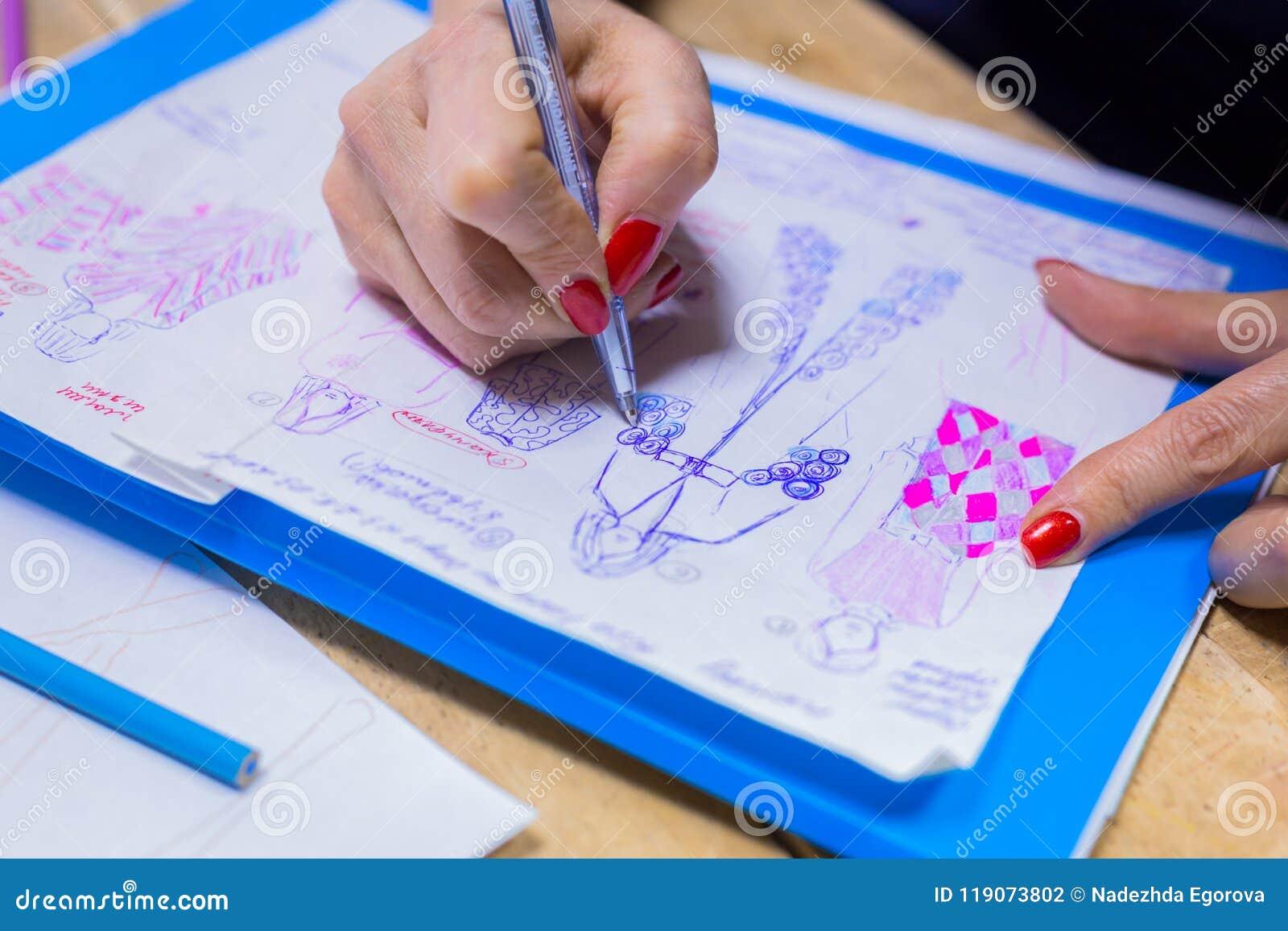 Fashion Designer Drawing Design Sketch Stock Photo Image Of Making Occupation 119073802