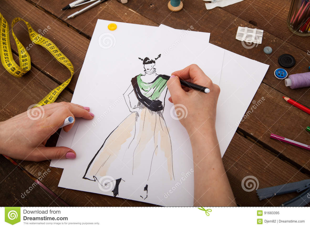 Fashion Designer Drawing New Models Of Clothes Stock Image Image Of Dress Creation 91683395