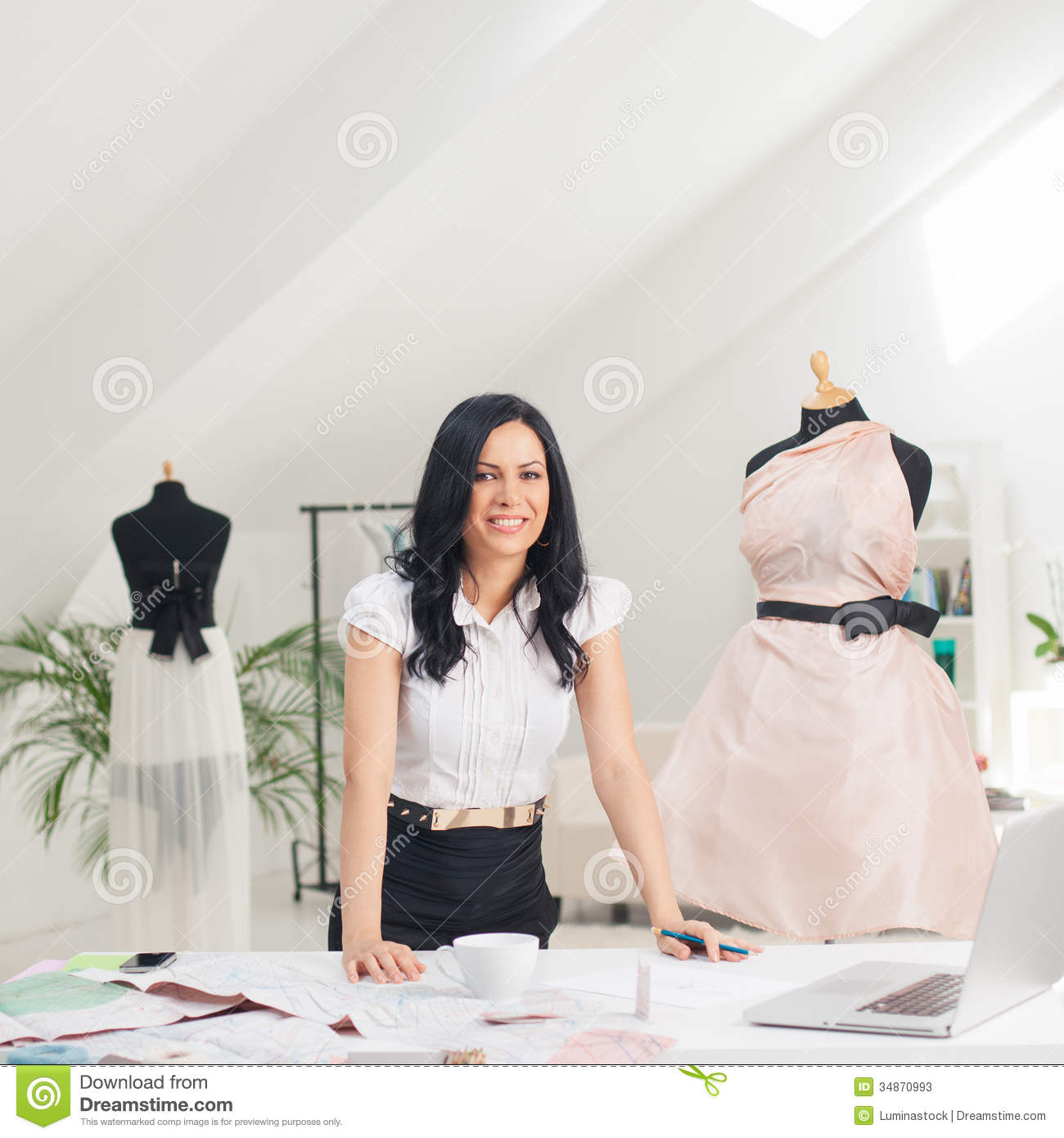 Fashion Designer At Her Studio Stock Photos Image 34870993