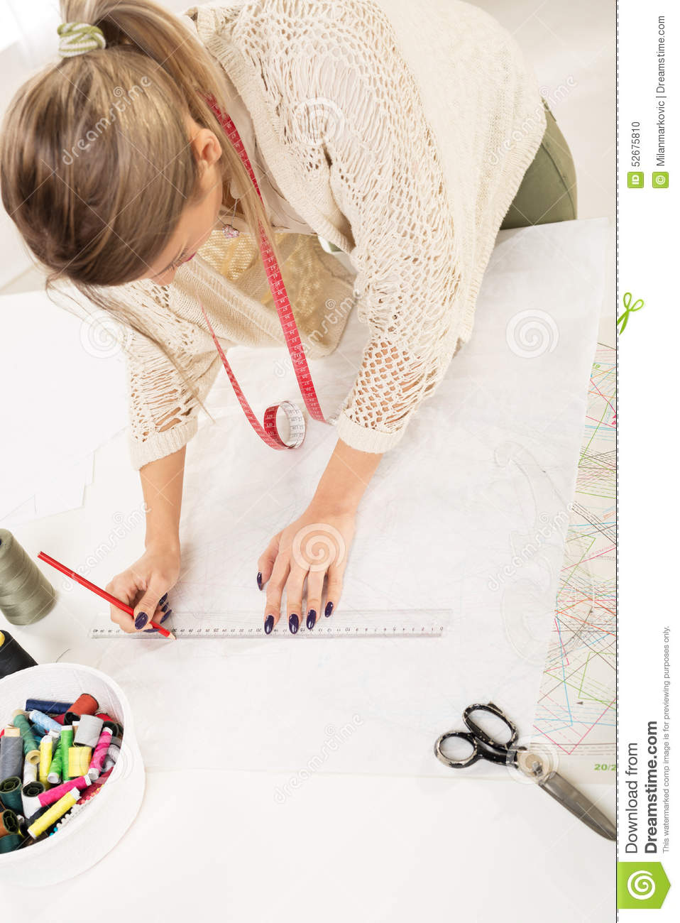 Fashion Designer With Sewing Pattern Stock Photo - Image of material ...