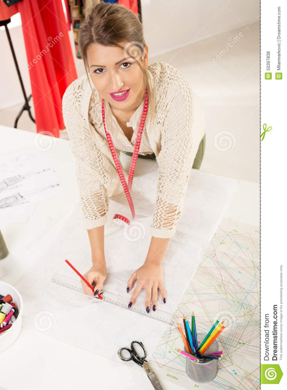 Fashion Designer With Sewing Pattern Stock Photo - Image of ...