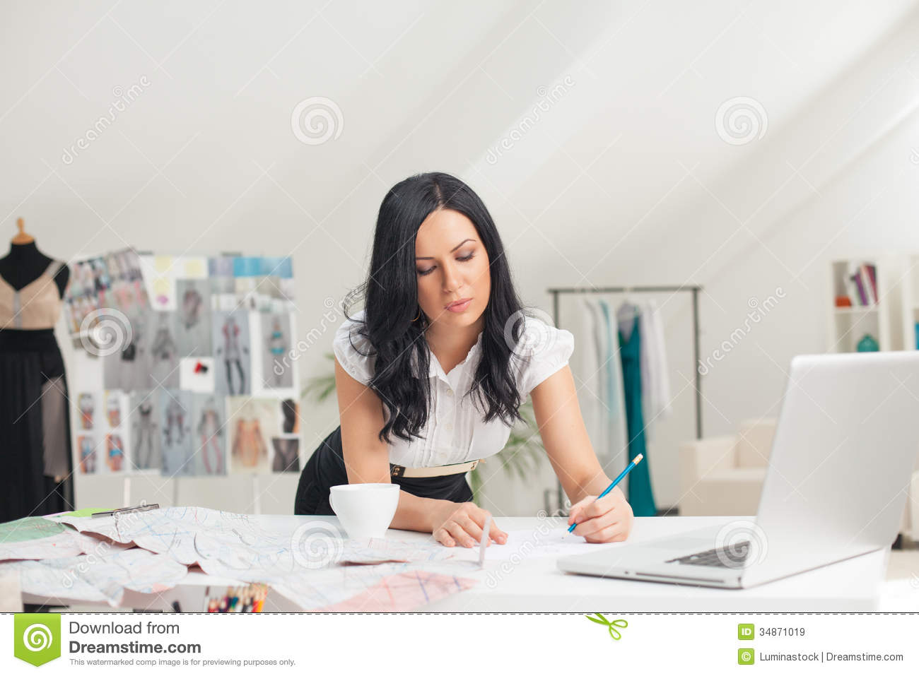 Fashion designer sketching stock image image of designer for Design your office online