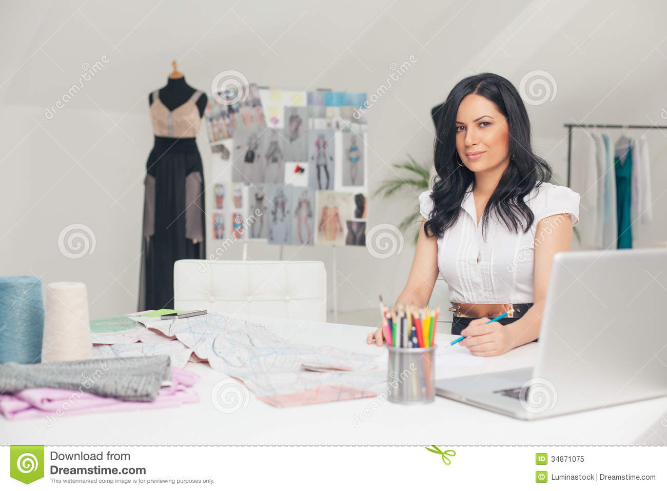 Fashion Designer Sketching Stock Image Image Of