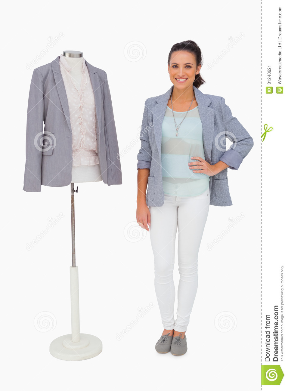 Fashion Designer Standing With Mannequin Stock Image