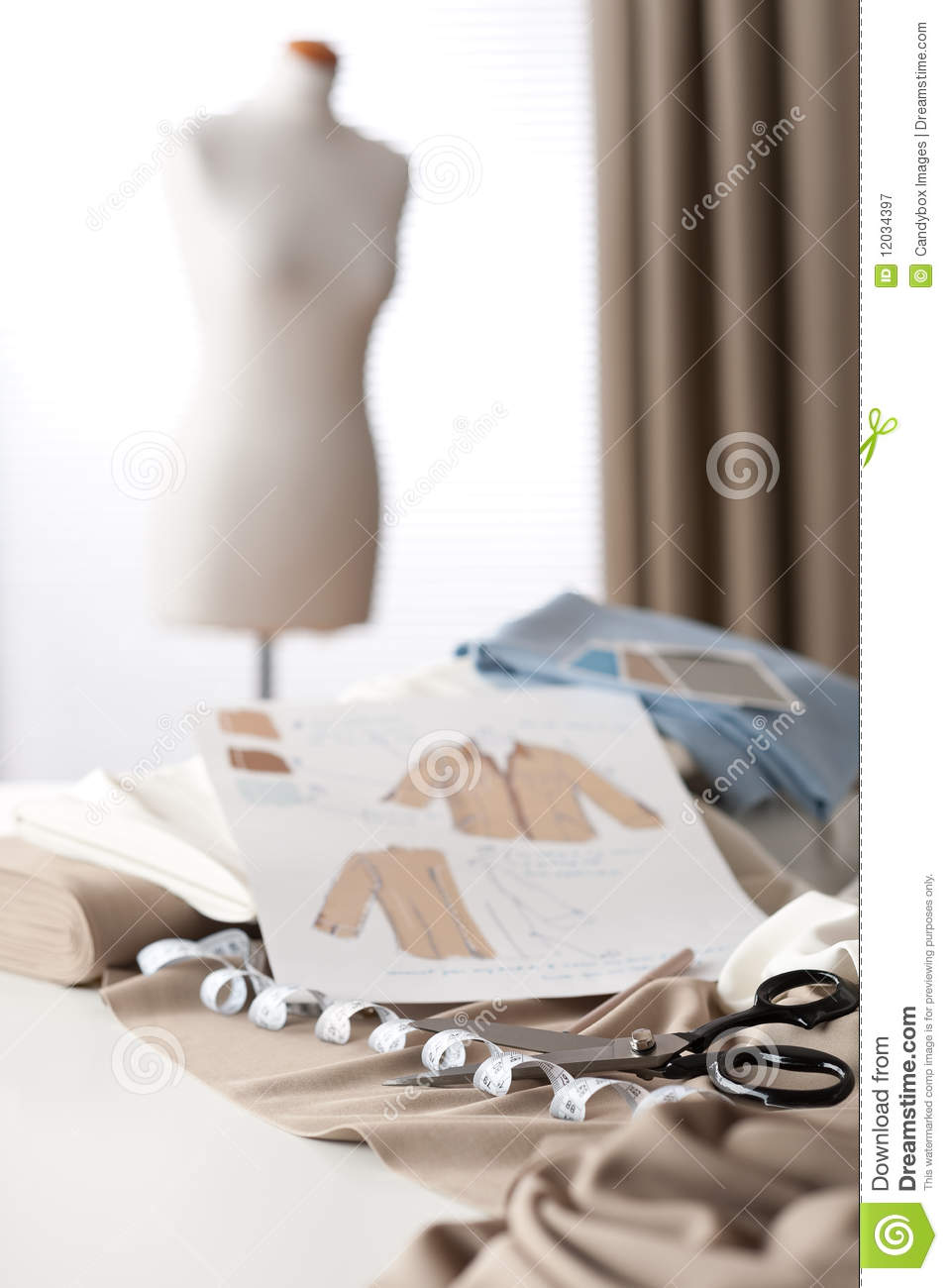 Fashion Designer Studio With Mannequin Royalty Free Stock
