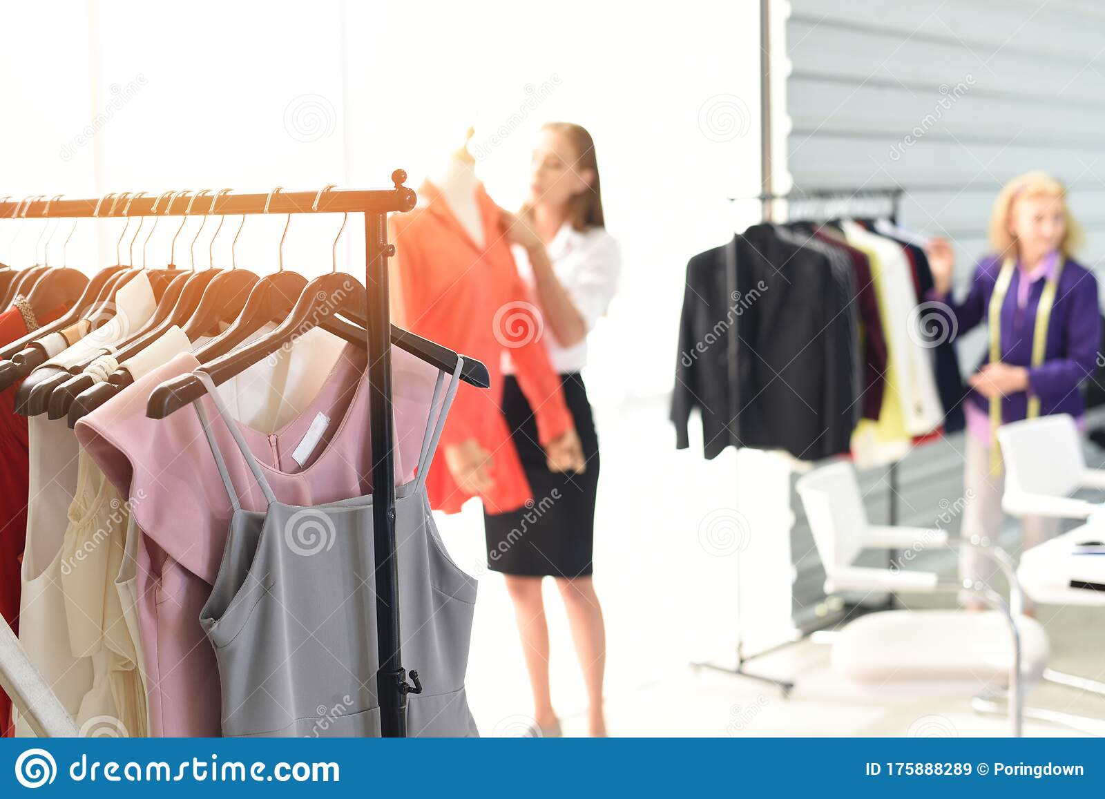 Fashion Designer Studio Measuring Textile Material Scissors Cutting Fabric By Woman Designer Stylish Showroom Hanging Clothes Stock Image Image Of Dress Couture 175888289