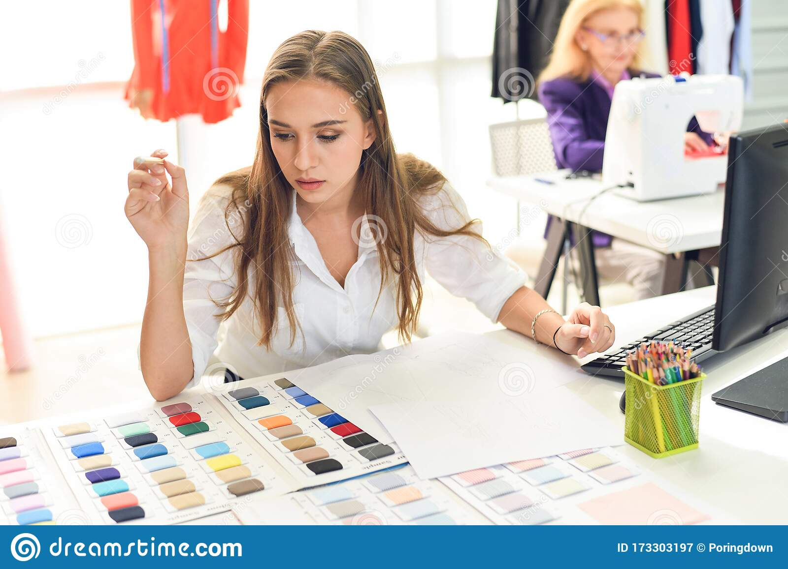 Fashion Designer Studio Measuring Textile Material Scissors Cutting Fabric By Young Woman Designer Stylish Showroom Hanging Stock Image Image Of Girl Equipment 173303197