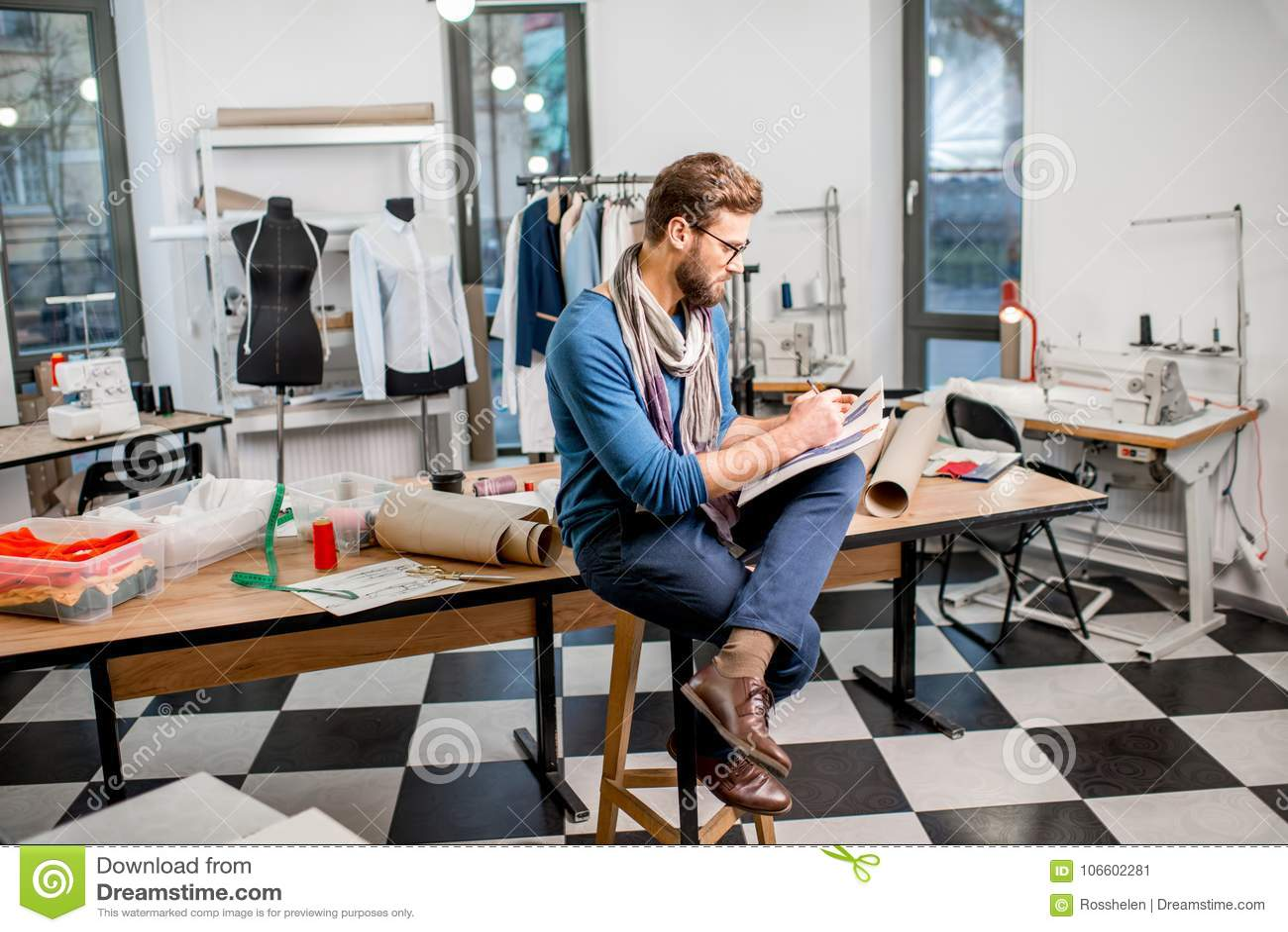 Fashion Designer At The Studio Stock Image Image Of Profession Business 106602281