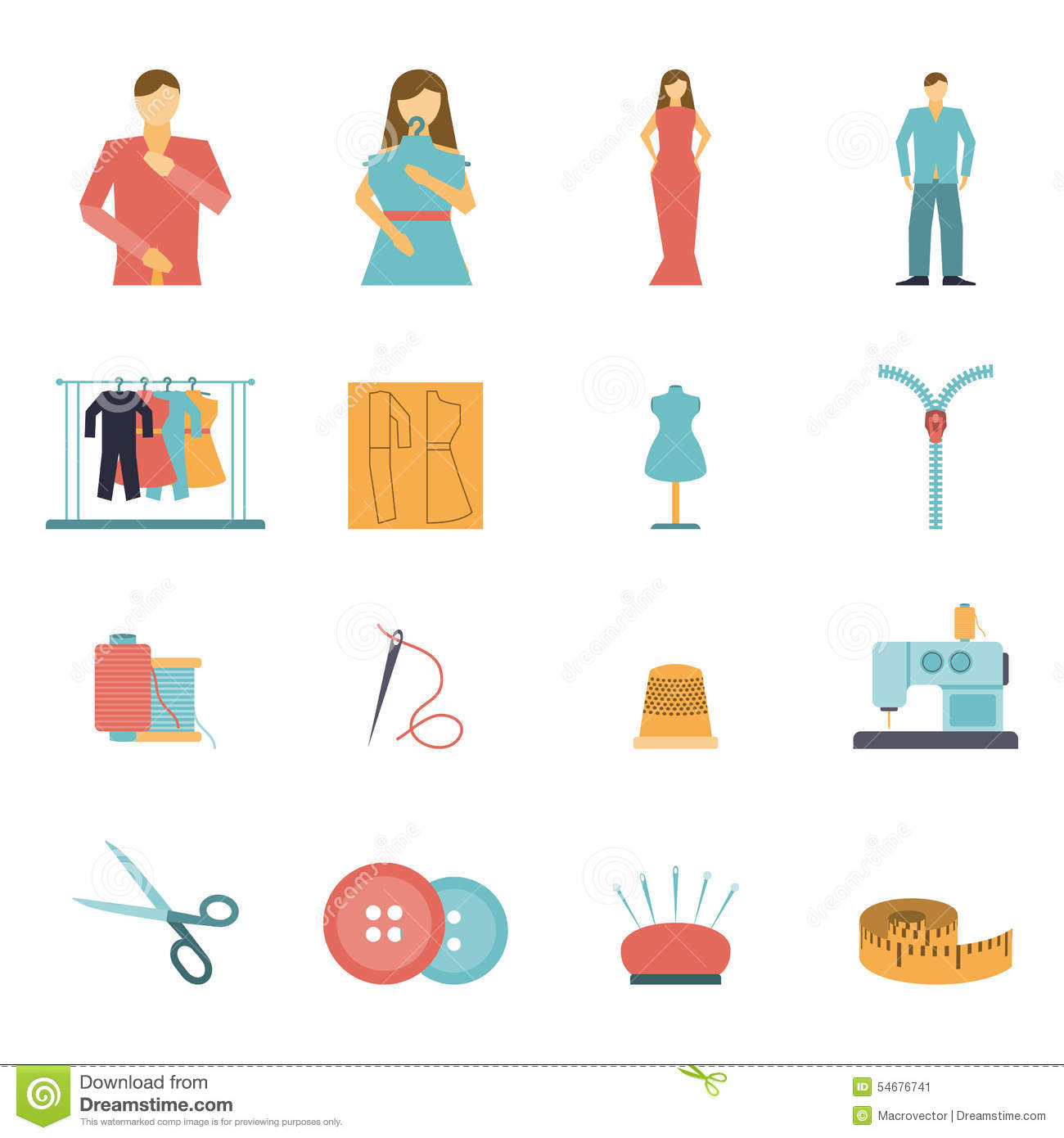 Fashion Designer Tools Icon Set Stock Vector Image 54676741