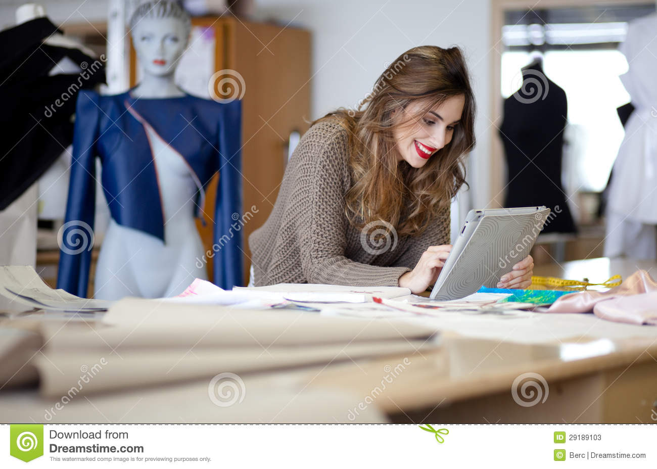 Fashion Designer Using Tablet Computer Stock Photos