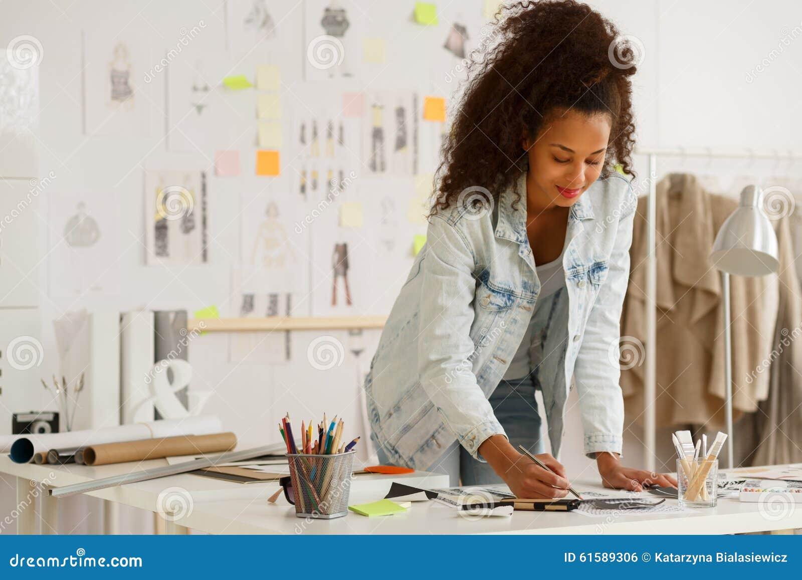 Fashion designer working in atelier