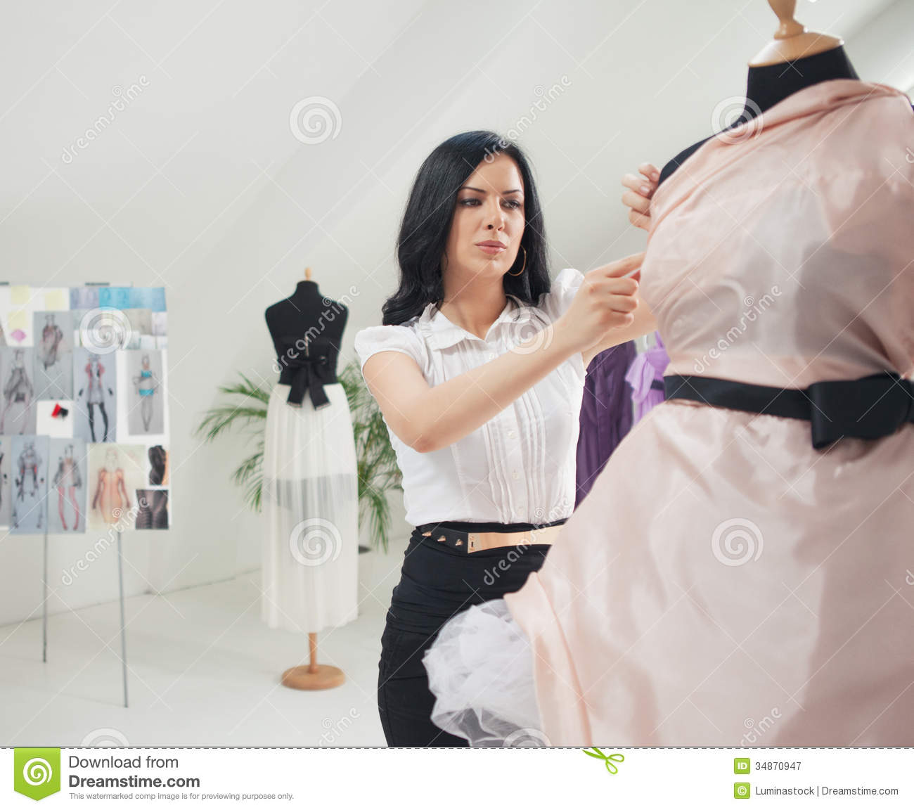 Fashion Designer Working At Her Studio Royalty Free Stock Photography Image 34870947
