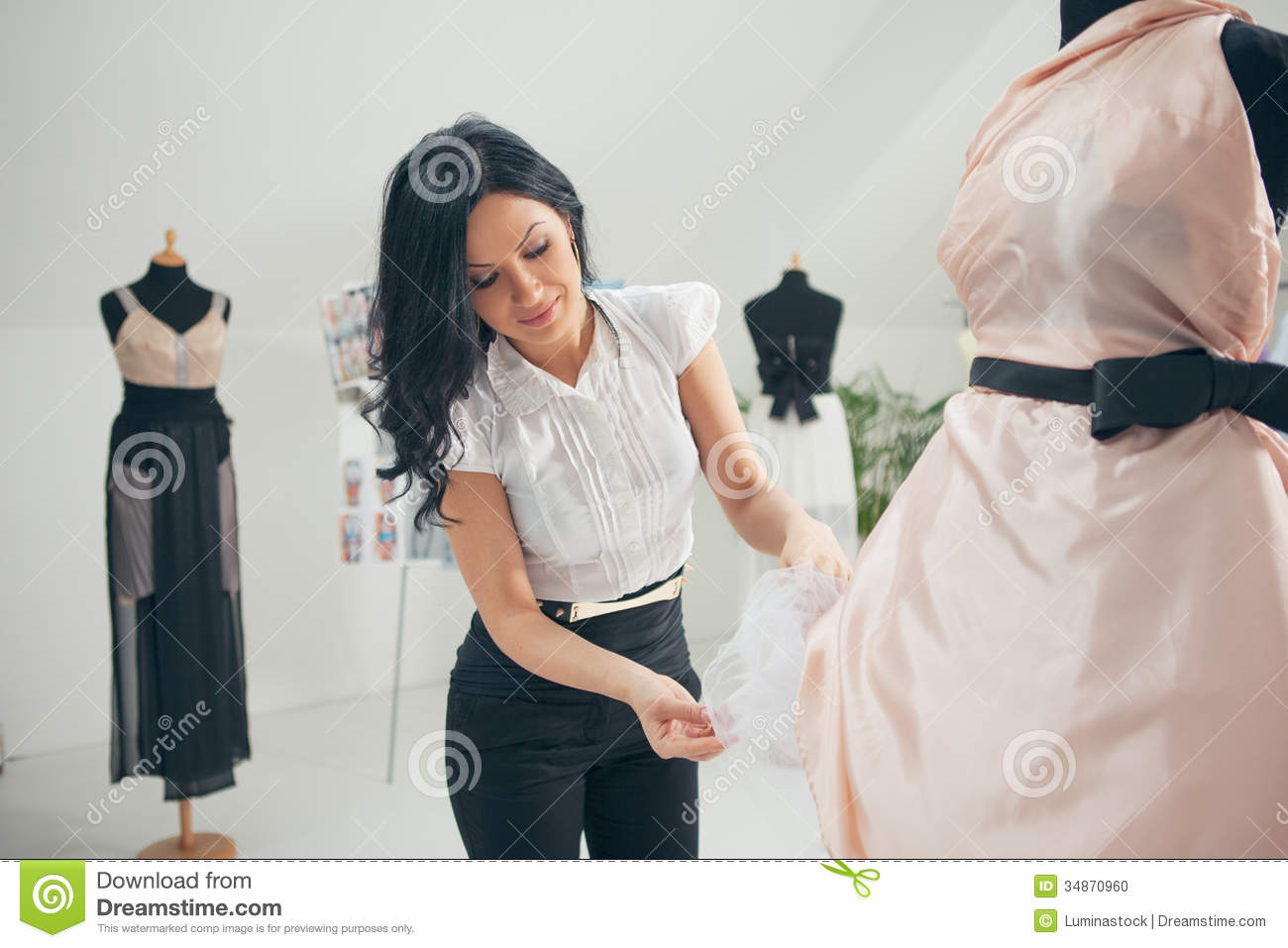 Fashion Designer Working At Her Studio Stock Photo Image