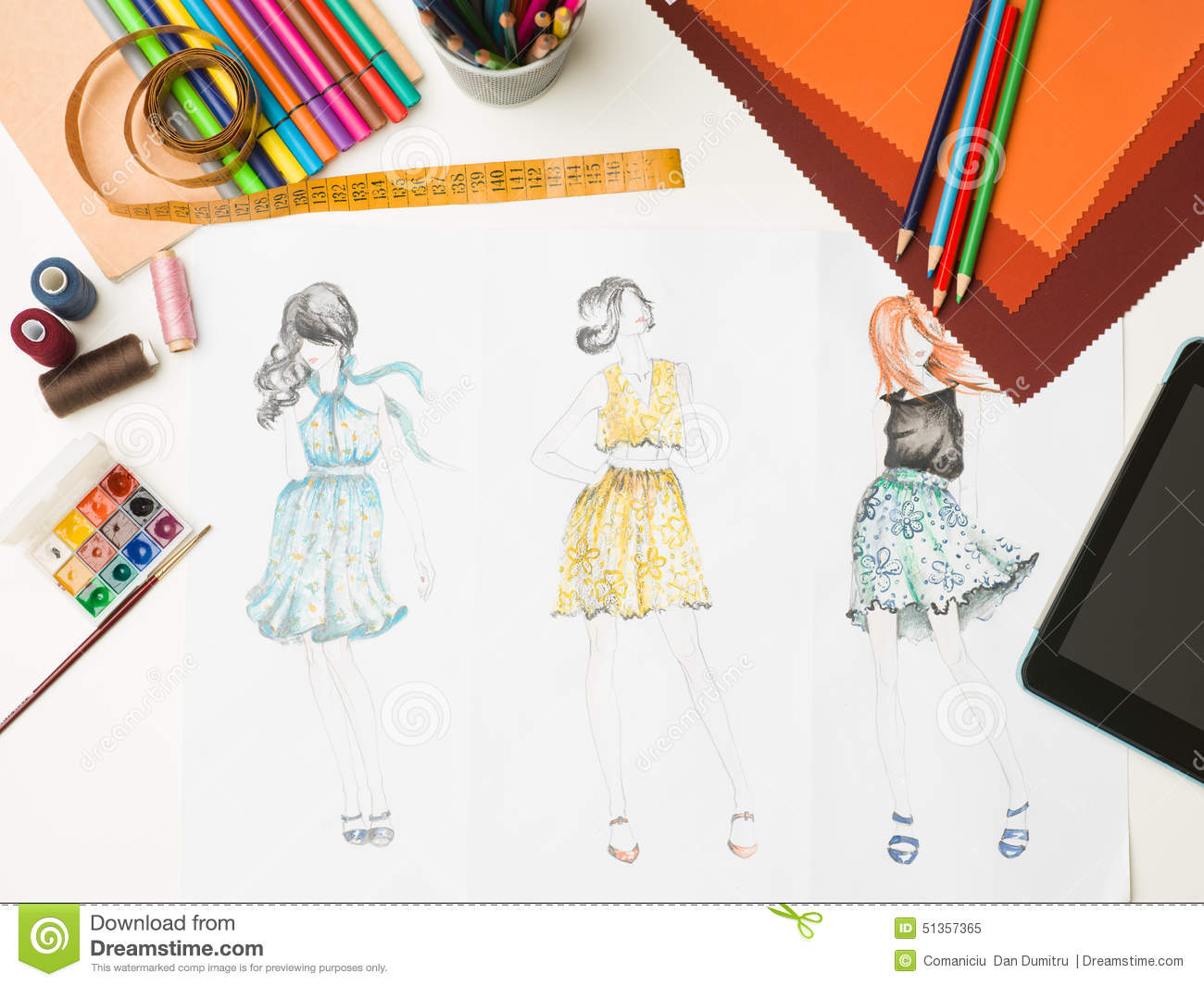 Fashion designer workspace stock illustration image for To be a fashion designer