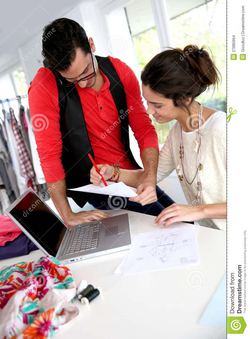 Fashion Designers At Work Stock Photo Image Of Designer