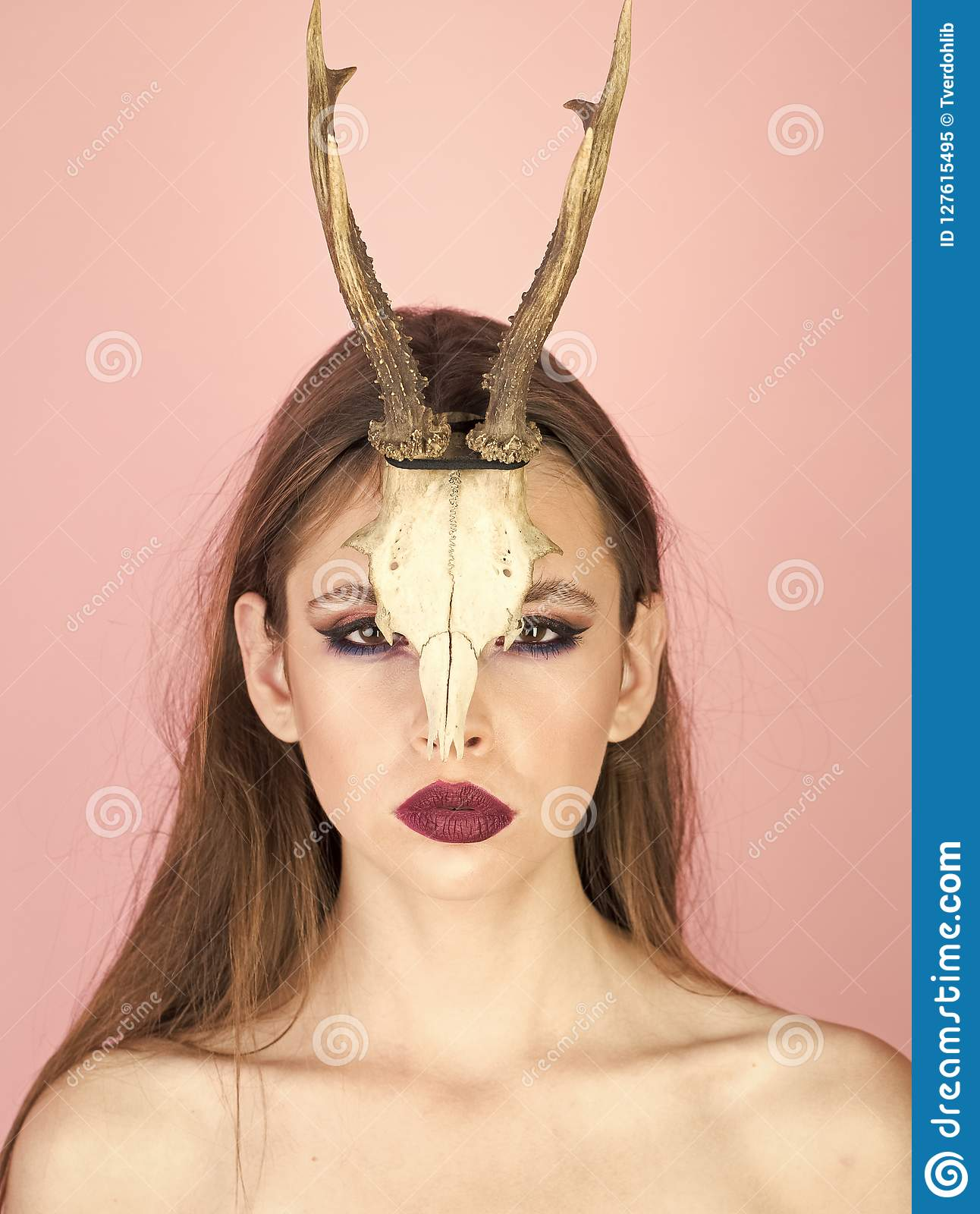 Halloween Makeup Devil Girl.Fashion Devil Of Mystic Shaman Girl With Horns Woman With Makeup