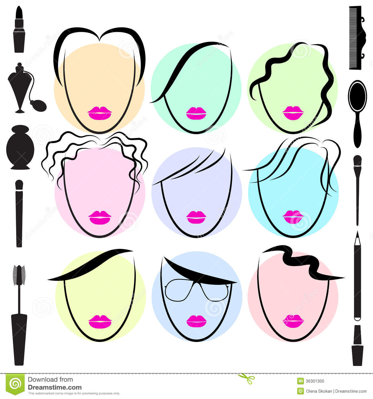 Fashion Different Type Of Hair Style Stock Vector Image 36301300