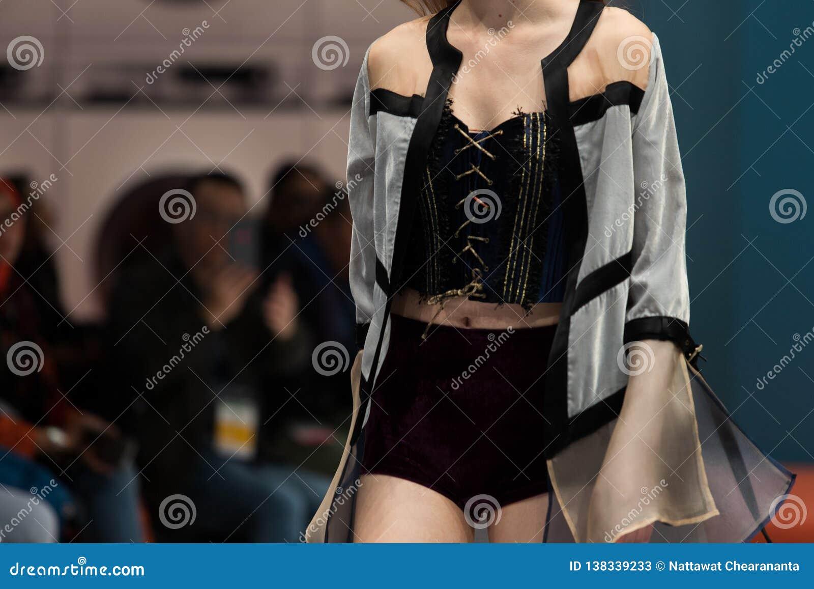 Fashion dress Model walk back dark Runway Fashion