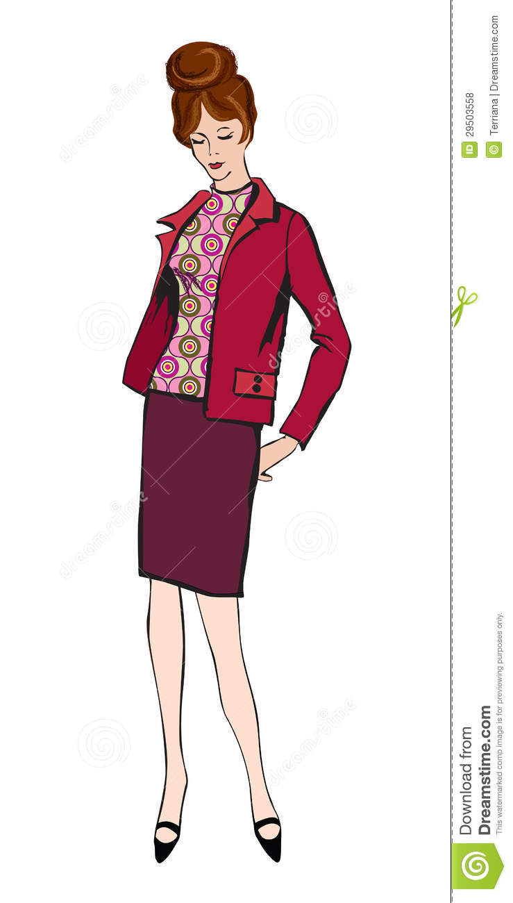 Fashion Dressed Woman 1950s 1960s Style Stock Vector