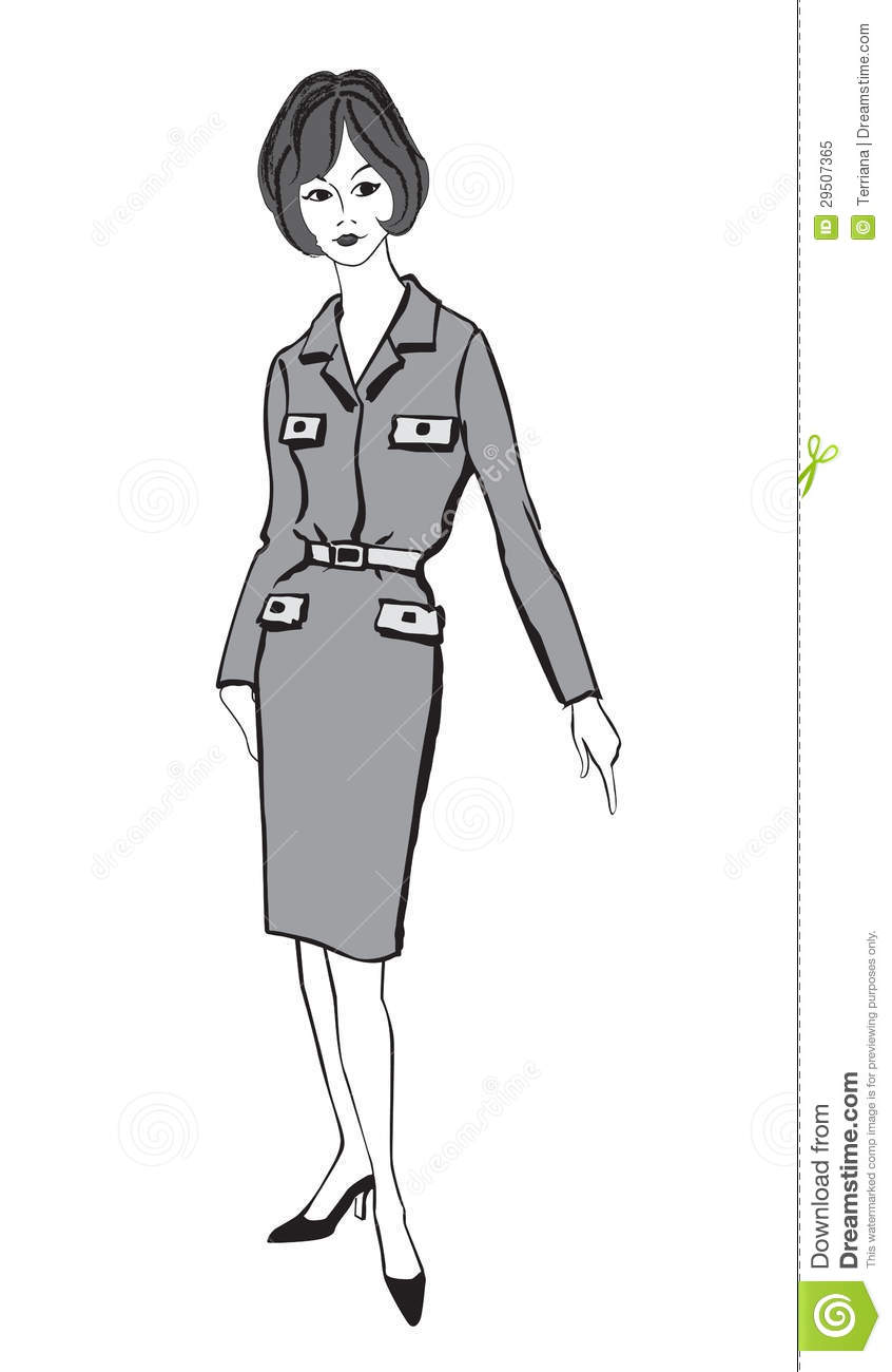 Fashion Dressed Woman (1950s 1960s Style) Stock Vector ...