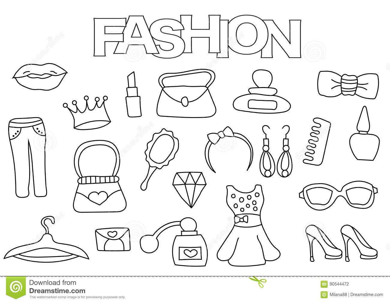 Fashion Elements Hand Drawn Set. Coloring Book Template ...