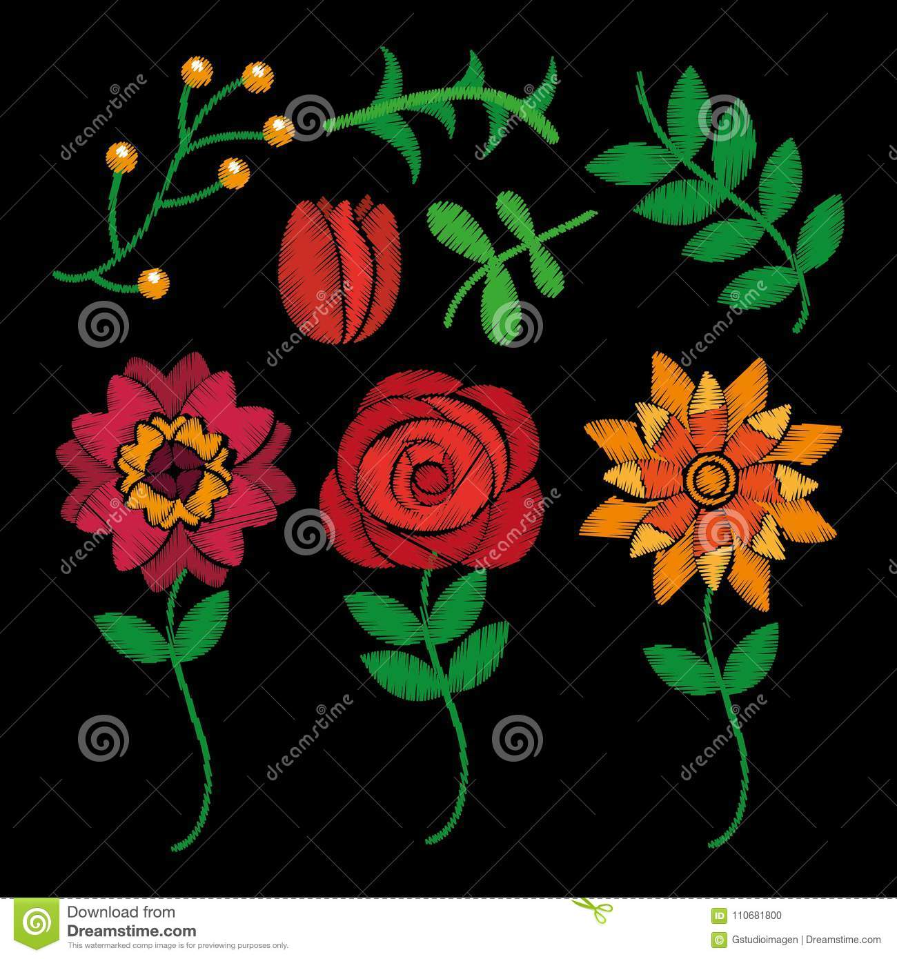 Fashion Embroidery Stitches Flowers And Leaves Floral Stock Vector
