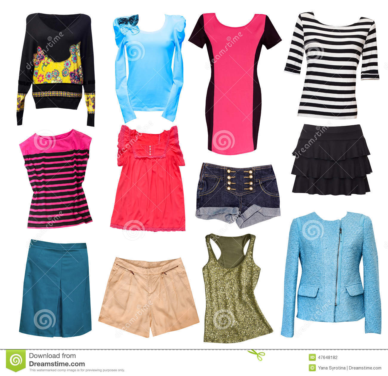 Fashion Female Clothes Collage.Woman Wear Set Isolated ...