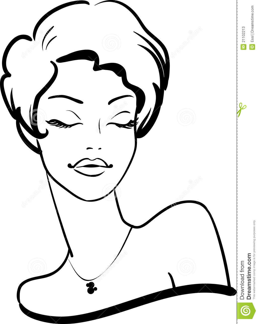 Line Drawing Face Woman : Fashion female face stock photos image