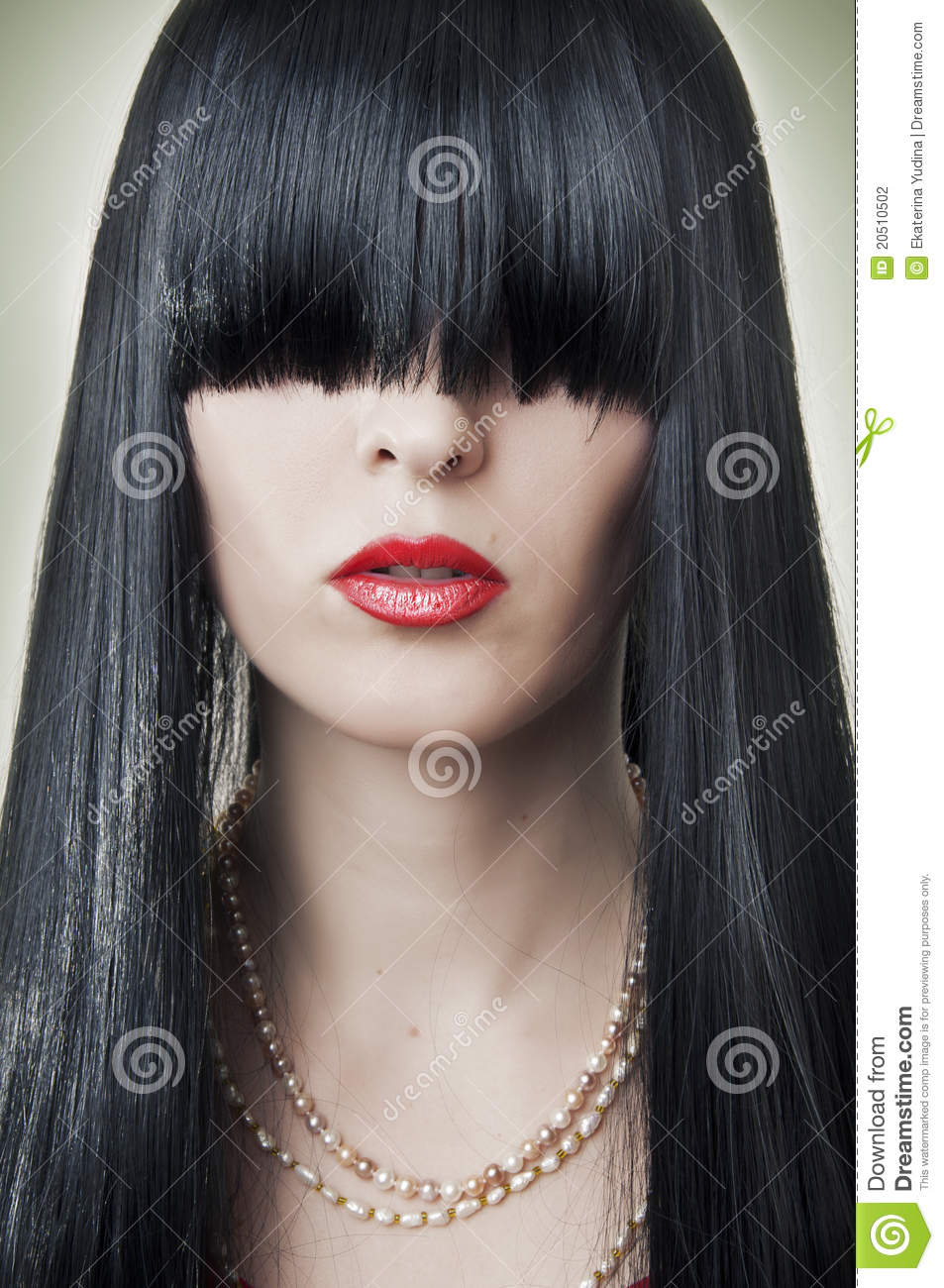 Fashion Female Face With Red Lips Stock Photo Image Of