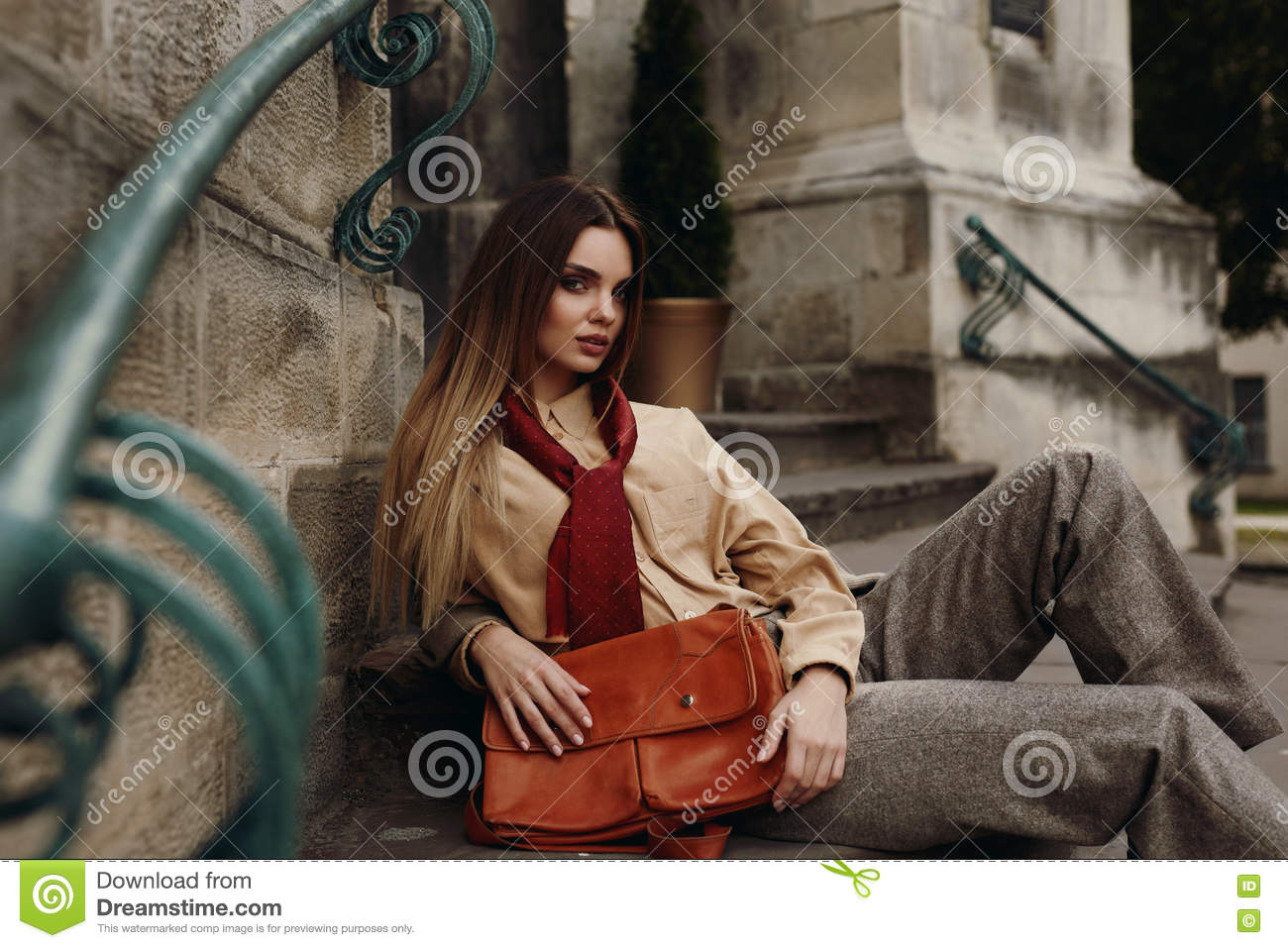 Fashion Female Model In Fashionable Clothes Posing In Street