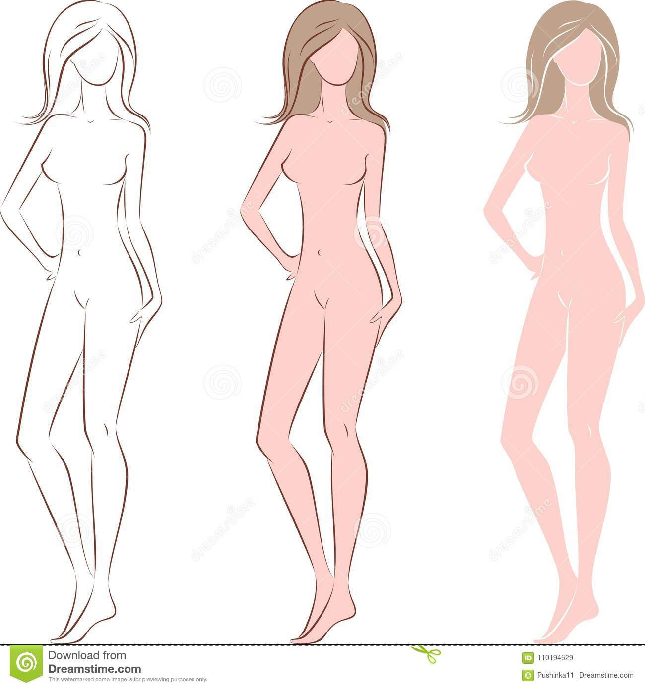 Fashion Female Silhouette Stock Vector Illustration Of Naked