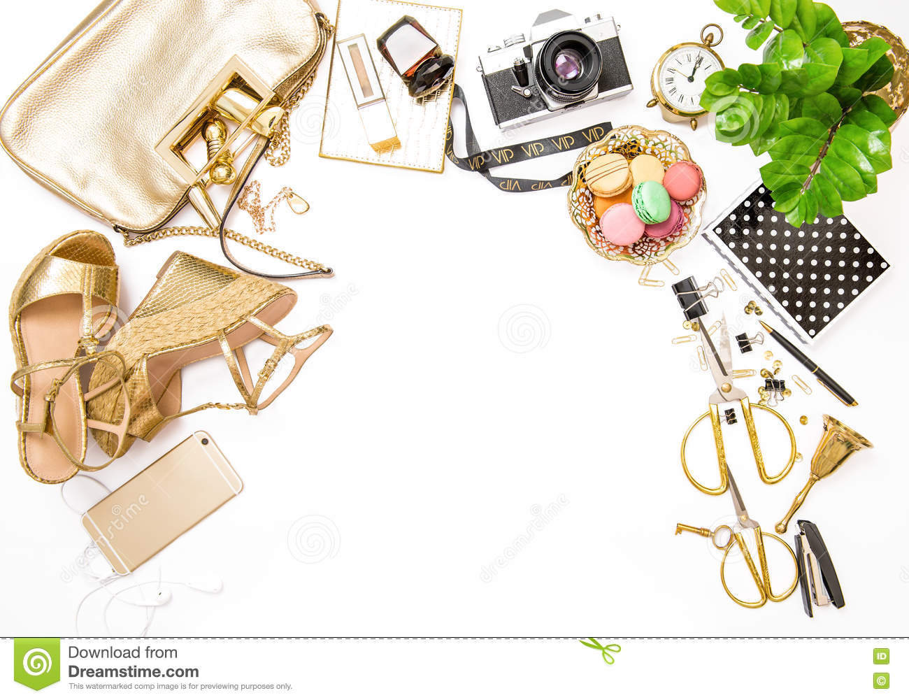 fashion flat lay bloggers social media feminine accessories bag stock image office i