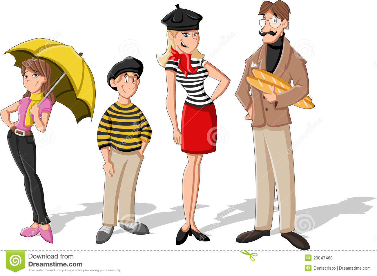 Fashion french cartoon family stock vector illustration for French shows