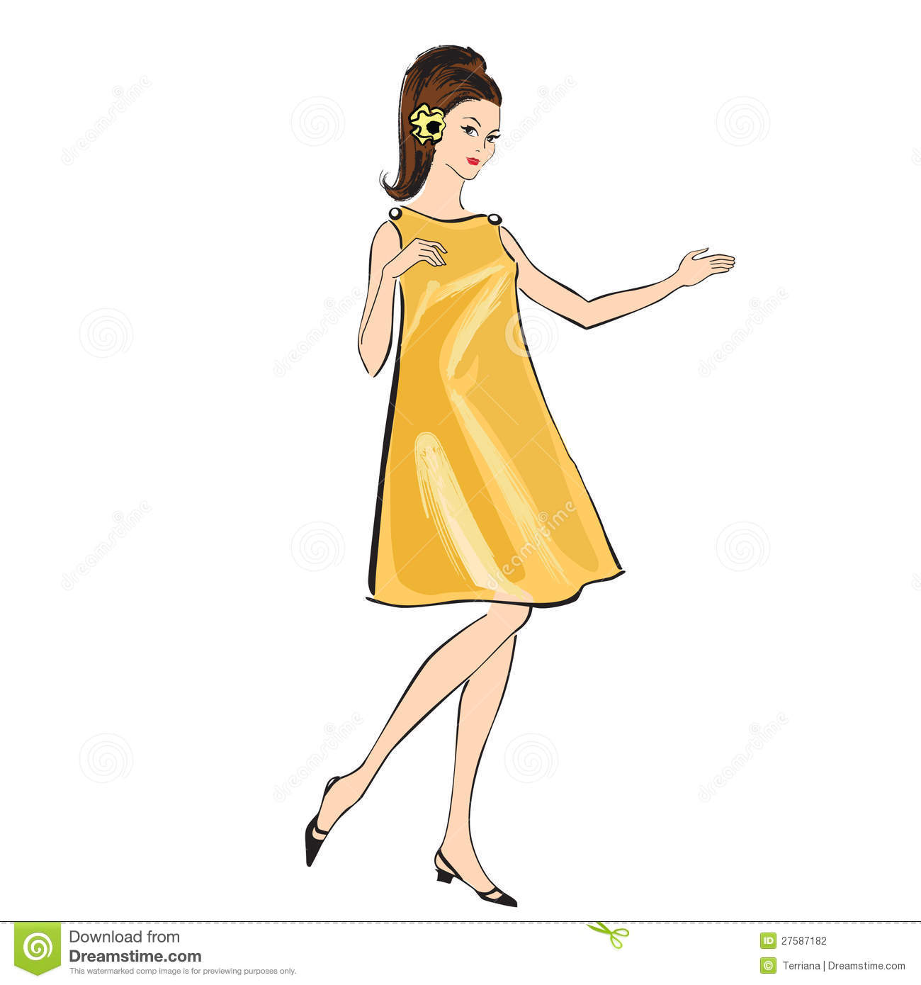 Fashion Girl 60s Style Retro Fashion Party Stock