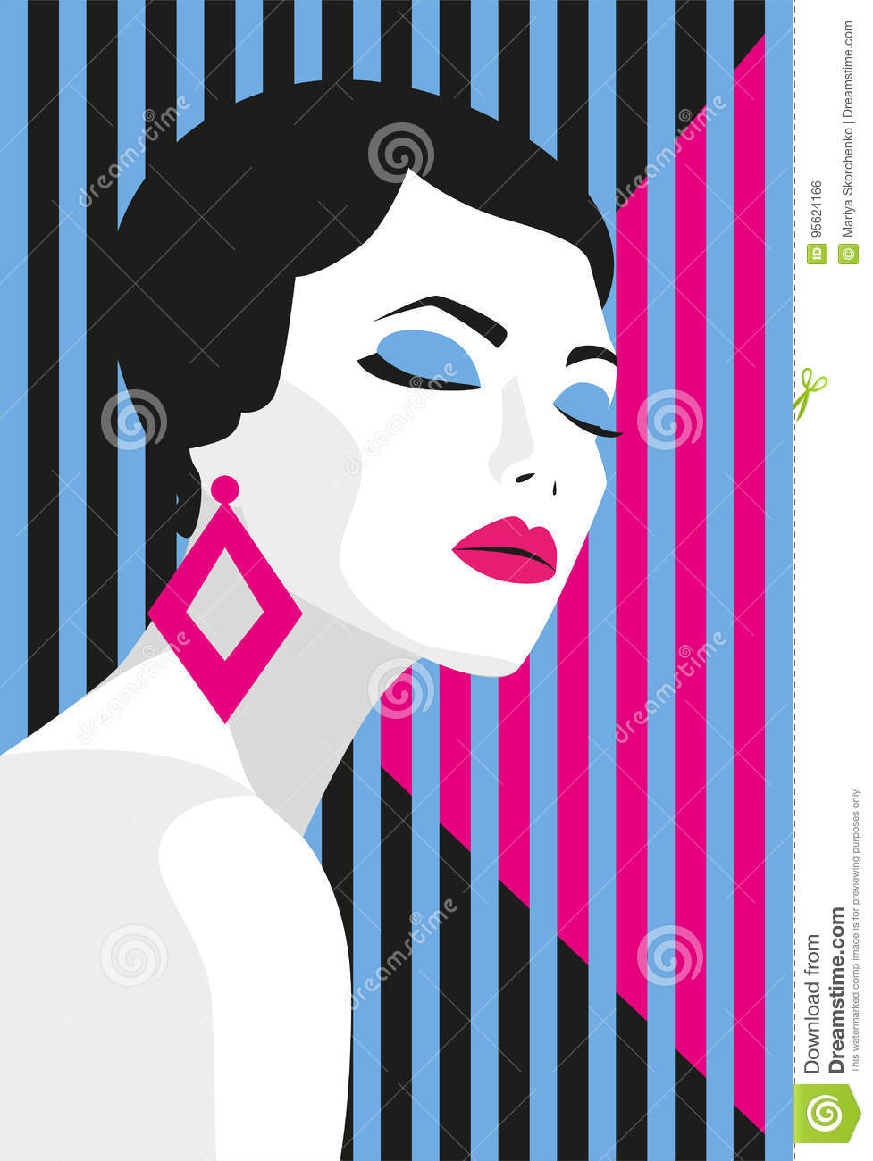 Fashion girl. Bold, minimal style. Pop Art. OpArt, positive negative space and colour. Trendy strips.Vector illustration